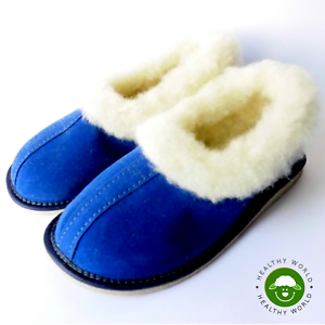 Women-039-s-Shoes-Slippers-REAL-SHEEP-WOOL-Handmade-Hard-Sole-Navy-Blue