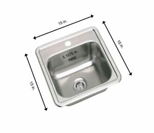 Stainless Steel 15 In 1 Hole Bar Single Bowl Kitchen Small Sink Drop