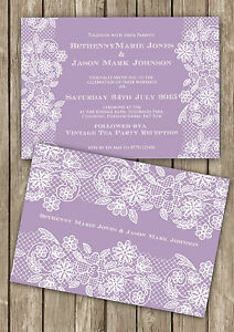 Personalised Lavender Purple Vintage Lace Double Sided Wedding