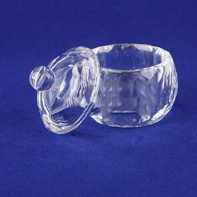 Acrylic Crystal Glass Dappen Dish Nail Art Lid Liquid Powder Container Cup#CAMO1
