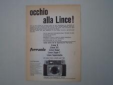 advertising Pubblicità 1963 FERRANIA LINCE SUPERMATIC
