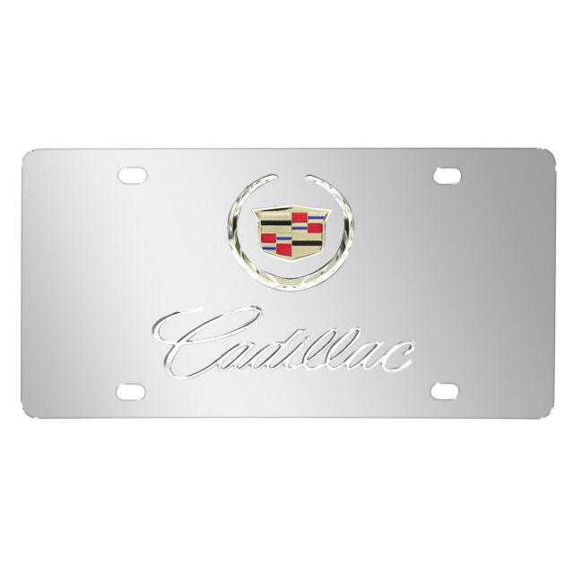 Cadillac 3d Logo and Name on Chrome Steel License Plate