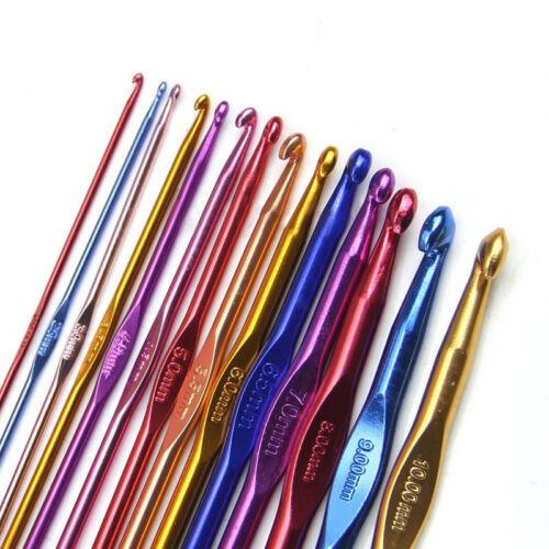 14Pcs multicolore aluminium Crochet crochets aiguilles à tricoter 2-10 mm Fil Tricot RF