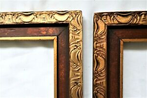 """2 Antique Fits 10 X 12"""" Gold Picture Frame Wood Fine Art Country CARVED PR"""