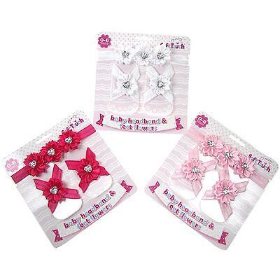 Toddler Baby Girl Crib Pram Shoes Sandals Flower for Baby Feet Hair Headband