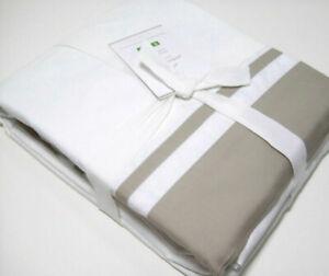 Pottery-Barn-Taupe-Brown-Parker-Stripe-Organic-Cotton-Twin-XL-Sheet-Set-New