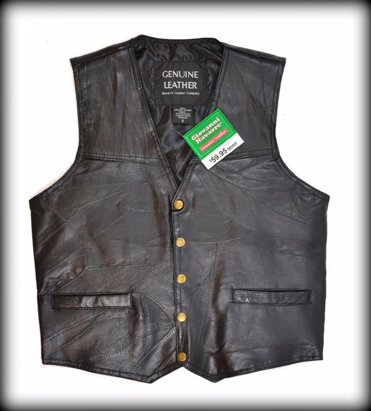 Gilet jacket pelle   Semplice Modello   Misto Bikers paese taglia comoda