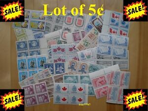 Lot-of-100-x-5-Vintage-Stamps-Mint-with-FULL-Gum-99-postage-Canada