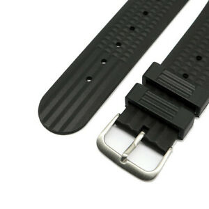 Waffle-Quality-Compound-Rubber-Watch-Strap-Black-22mm