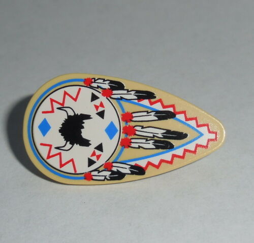 ACCESSORY Lego Shield Indian Ovoid with Feathers and Helmet Tan NEW Western