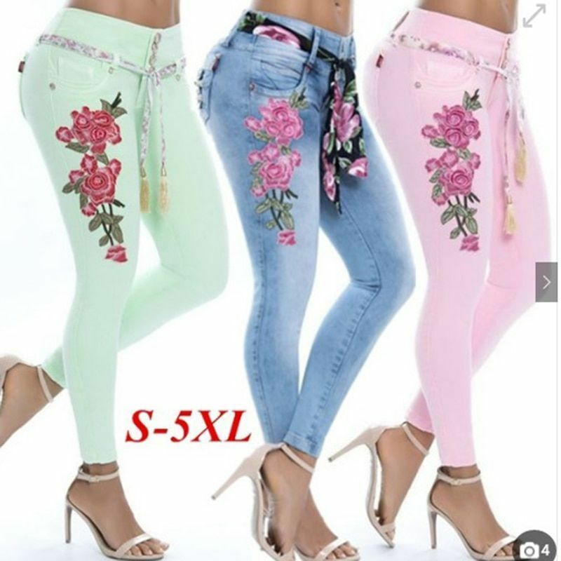 Flower Embroidered Design Pants High Waist Stretchable Fit Ladies Clothing Wears