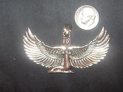 NEW LARGE 65MM SILVER TONE EGYPT EGYPTIAN ISIS WINGED GODDESS PENDANT  NECKLACE