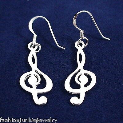 Treble Clef Earrings - 925 Sterling Silver - Dangle Music Note Musician