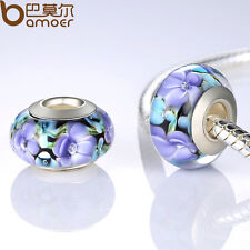 Purple Flower Series European Lampwork Murano Glass Beads For Charms Pa Bracelet