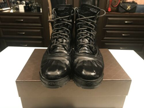 GUCCI LEATHER BLACK WINTER BOOTS MENS SIZE 11.5 EX