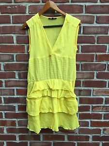 Image Is Loading Anthropologie Nanette Lepore Yellow Flowy Summer Sleeveless Dress
