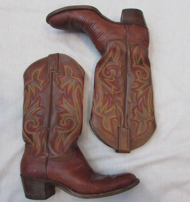 JUSTIN womens womens womens 6.5 brown round toe leather lizard exotic skin cowboy boots 7e8a05