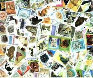 Cats-on-Stamps-Collection-100-Different-Stamps