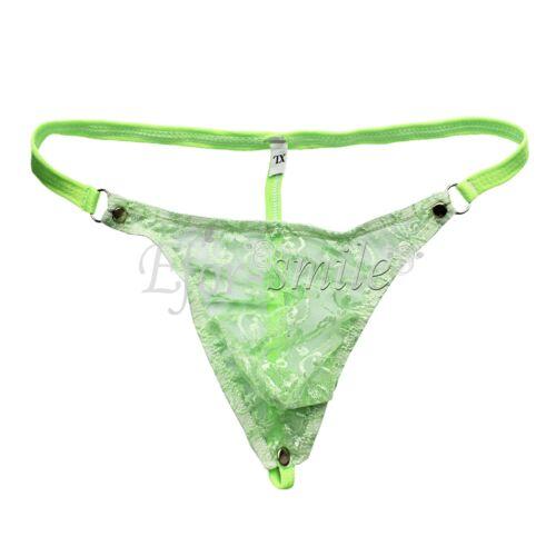 UK/_Sissy Men Mesh Lace Mini Thong Low Rise See-through G-String Briefs Underwear