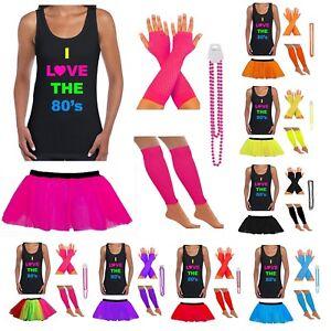jupe-tutu-fluo-Ensemble-deguisement-pour-femmes-I-Love-annees-80-T-shirt