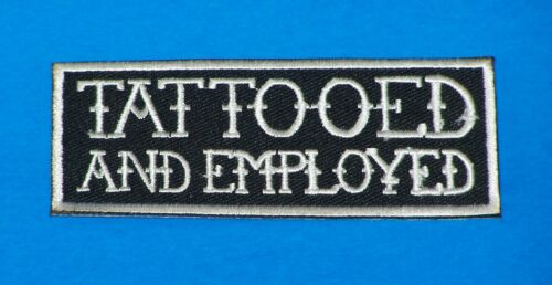 Tattooed White on Black Iron on Small Patch for Biker Vest SB1065
