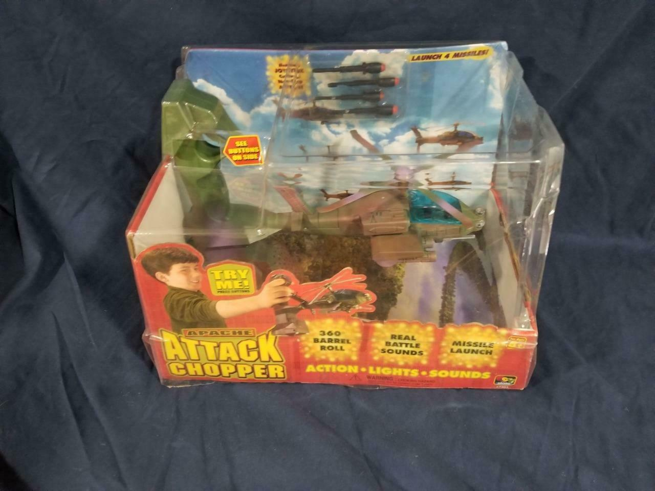 Vintage 2000 Toy State Electronic Attack Apache Helicopter Army Military Chopper
