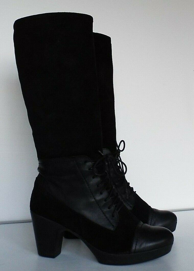 Designer Yokono 38 5 Black leather & suede knee length mid block heel lace up