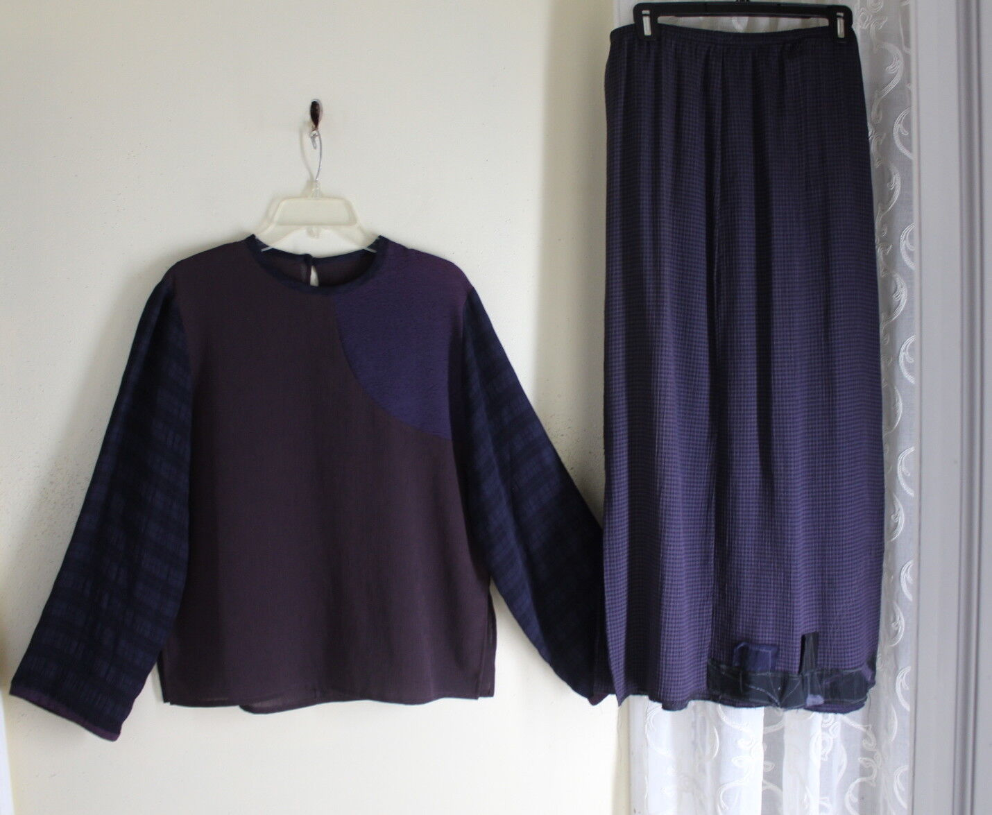 damen JESSICA 2 S M L XL FUNKY Boxy Lagenlook Skirt + Patchwork Top lilas