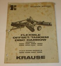 Krause Flexible Offsettandem Disc Harrow Owners Operators Parts Manual Original