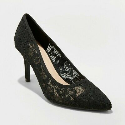 7W Black A New Day Women/'s Gemma Wide Pointed Toe Heeled Pumps