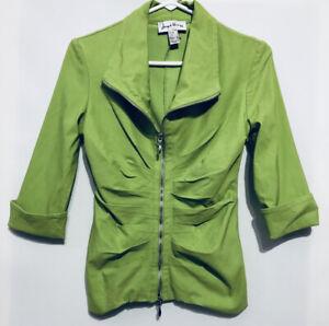 Joseph-Ribkoff-Womens-Size-8-Lime-Green-Zip-Up-Cuffed-Jacket-Stretch-Pleated