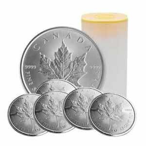 Roll-of-25-2017-1-oz-Silver-Canadian-Maple-Leaf-Coins