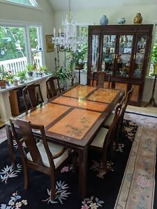 Inlaid Carved Chinese Rosewood Dining Set Table W 6 Chairs China Cabinet Ebay