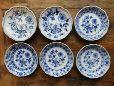 6 Vintage Meissen Porcelain Plates Blue & White Onion Pattern 2 Variations