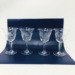Vintage-Crystal-Sherry-Cordial-Set-of-4-Glasses-Etched-Pine-Cone-Bough-Pattern