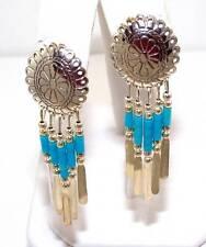 Native American Handmade Blue Turquoise Bead Dangle Chandelier Concho Earrings