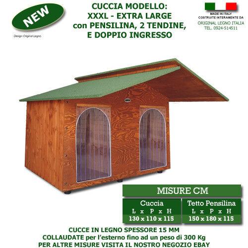 Cucce XXXL Extra Large con Pensilina doppio ingresso per 2 cani cuccia in legno
