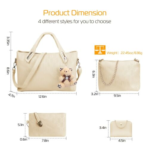 1Set//4Pcs Women Leather Handbag Lady Shoulder Bag Tote Satchel Purse Card Holder