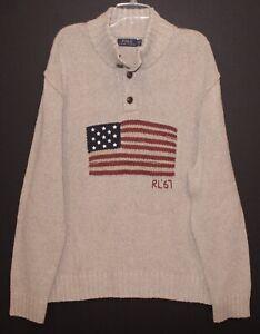 Polo-Ralph-Lauren-Mens-Beige-USA-Flag-Cotton-Linen-Sweater-NWT-Size-2XL-XXL