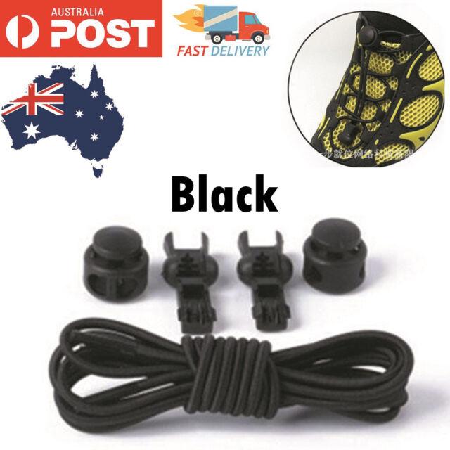 Elastic Shoe Lock Laces Sport Sneakers No Tie Lazy Shoelace Genuine Unsiex Black