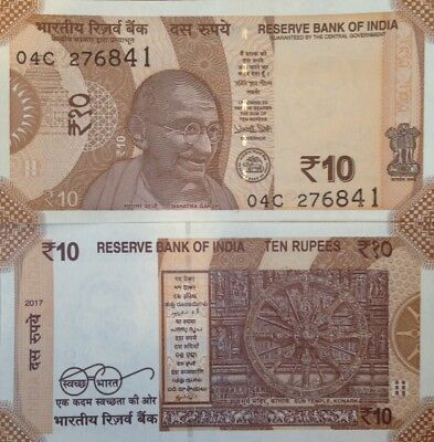 INDIA 2017 10 RUPEES UNC BANKNOTE MAHATMA GANDHI P-NEW BUY FROM A USA SELLER !!