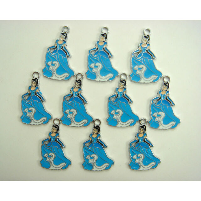 10 pcs Disney Princess Cinderella Jewelry Making Metal Figure Pendant Charm GIFT
