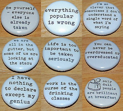 """1 INCH BUTTON BADGE /""""WE ARE ALL IN THE GUTTER/"""" OSCAR WILDE QUOTE 25MM"""