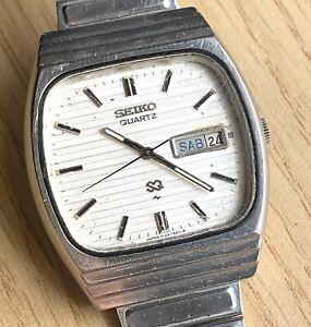 Seiko-7123-5010-Quartz-Vintage-35-mm-Pas-Fonctionne-pour-Pieces
