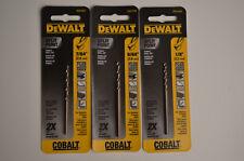 Lot Of 3 Dewalt Dw1207 764 964 Amp 18 Cobalt Split Point Twist Drill Bits