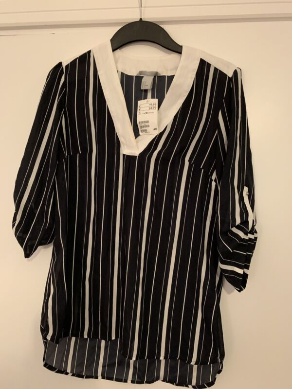 Original H & M Navy And White Striped Shirt Size 10 2019 New Fashion Style Online