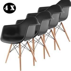 4 x Set di sedie per sala da pranzo, in polipropilene e legno di ...