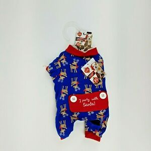 Puppy Dog Blue Christmas Winter Pajamas XS Rudolph Reindeer