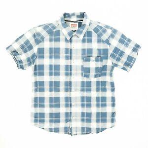 Levi-039-s-Men-039-s-Button-Front-Shirt-Plaid-Short-Sleeve-Cotton-Blue-White-Size-Large