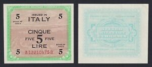 Italy-5-Livres-Occupation-American-1943-Fds-Unc-C-10